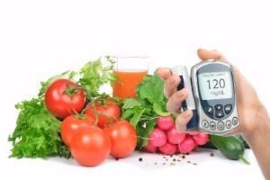 Glucómetro y verduras